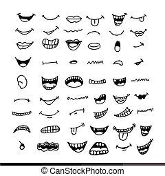bouche, conception, dessin animé, illustration, icône