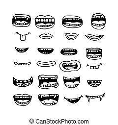 bouche, dessin animé, icône
