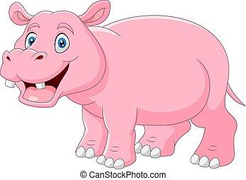bouche, dessin animé, ouvert, hippopotame