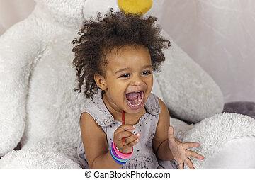 bouche, heureux, ouvert, enfant