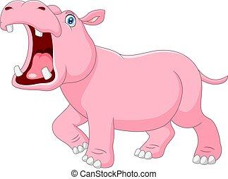 bouche, hippopotame, ouvert, dessin animé