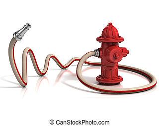 bouche incendie, à, tuyau pompe incendie