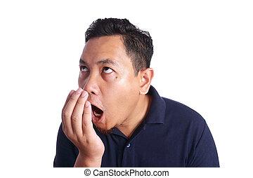 bouche, odeur, chèque, sien, homme asiatique, propre