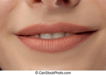 bouche, parfait, lips., fin, sexy, fille femme, haut., smile., beauté, jeune