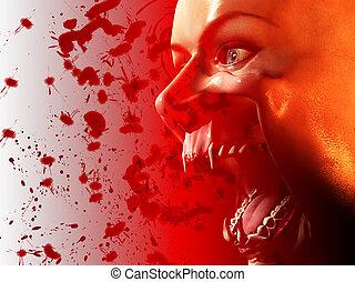 bouche, vampire, sanglant