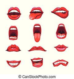 bouche, vecteur, lèvres, langue, sourire, icônes, emoji