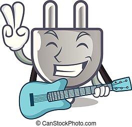 bouchon, guitare, isolé, puissance, mascotte