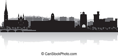 bouchon, horizon, vecteur, ville, silhouette