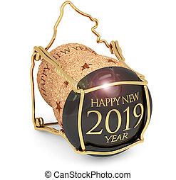 bouchon, isolé, illustration, année, 2019, blanc, nouveau, champagne, 3d
