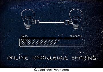 bouchon, lightbulbs, connaissance, &, connecté, ligne, barre progrès