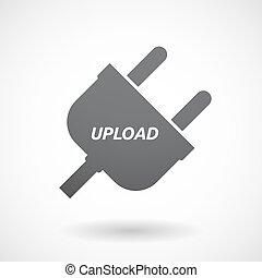 bouchon, texte, isolé, envoyer un fichier par transfert de données en une ordinateur