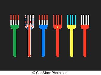bouchons, drapeau, couleurs