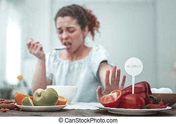 bouclé, because, éruption, peau, rouges, femme, légumes, avoir