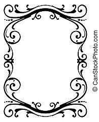 bouclé, cadre, noir, calligraphie, baroque, calligraphie