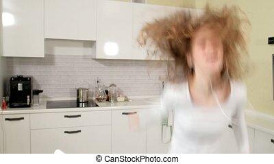 bouclé, danse, chevelure, manière extravagante, cheveux, ...