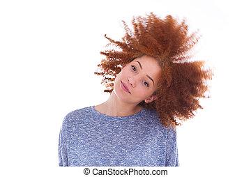 bouclé, jouer, adolescente, fond, américain, isolé, elle, cheveux blancs, africaine, jeune