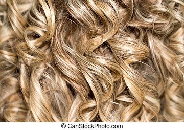 bouclé, .natural, vague, cheveux, hair., hairdressing.