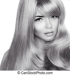 bouclé, noir, hair., mode, beau, photo, blanc, femme, long, blond, girl., sain