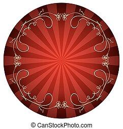 bouclé, or, cadre, -, vecteur, fond, rouges