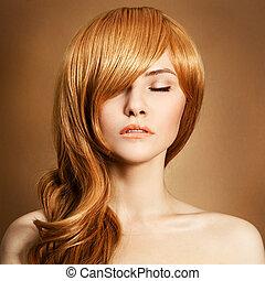 bouclé, portrait., long, beauté, cheveux