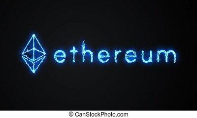 boucle, bleu, ethereum, électrique, logo, large