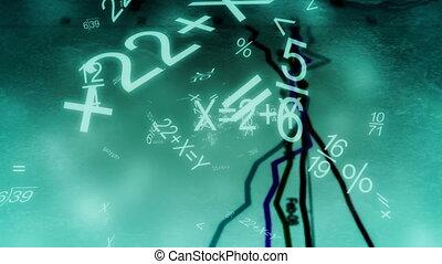 boucle, diagrammes, graphiques, voler, math