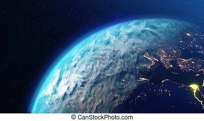 boucle, jour, nuit, planète, lentement, animation, tourner, la terre