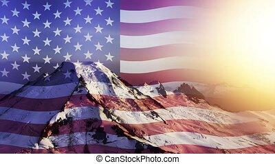 boucle, onduler, animation, sur, américain, cinemagraph, continu, paysage, drapeau