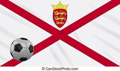 boucle, onduler drapeau, contre, tissu, football, jersey, ...