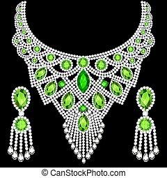boucles oreille, ensemble, colliers, illustration, bijouterie, émeraudes