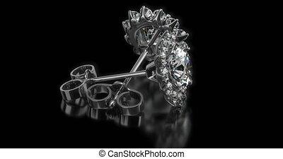 boucles oreille, précieux, diamant, arrière-plan noir