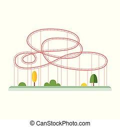 boucles, rollercoaster, amusement, isolated., plat, vecteur, illustration, parcs