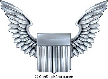 bouclier, ailes, nous, argent