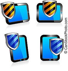 bouclier, antivirus, tablette, 3d, et, 2d