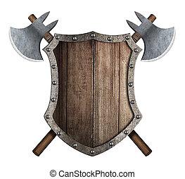 bouclier, bois, haches, deux, traversé, bataille