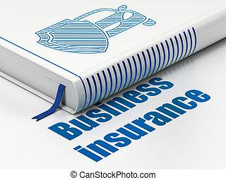 bouclier, business, voiture, livre, fond, blanc, assurance, concept: