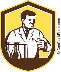 bouclier, chercheur, laboratoire, scientifique, retro, chimiste