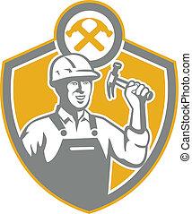 bouclier, constructeur, marteau, retro, charpentier