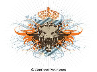 bouclier, couronne, lion