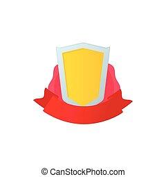 bouclier, couronne or, ruban rouge, icône
