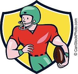 bouclier, football, courant, américain, récepteur, dessin animé