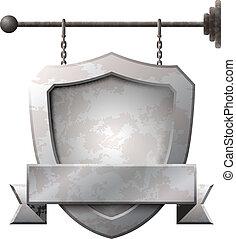 bouclier, formé, métal rouillé, enseigne