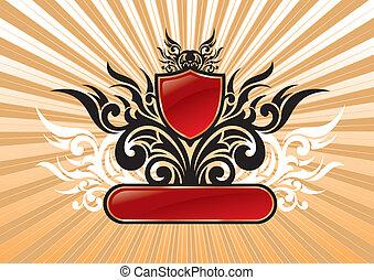 bouclier, &, héraldique, illustration, vecteur, cadre orné, rouges