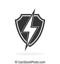 bouclier, -, icône, vecteur, éclair