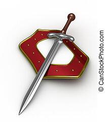 bouclier, image, isolé, arrière-plan., épée, blanc, 3d