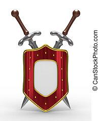 bouclier, image, isolé, deux, arrière-plan., épée, blanc, 3d