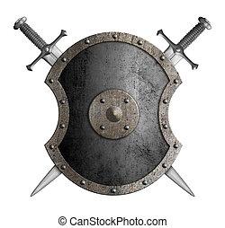 bouclier, métal, épées, isolé, illustration, traversé, 3d