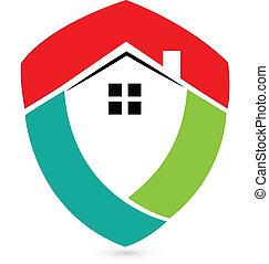 bouclier, maison, immobiliers, logo