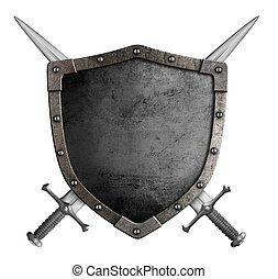bouclier, manteau, épées, isolé, bras croisés, chevalier,...