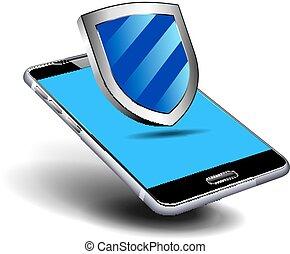 bouclier, mobile, téléphone portable, protection, sécurité, ton, intelligent